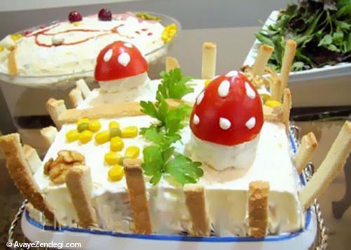 تزیین کیک الویه (چهارگوش)