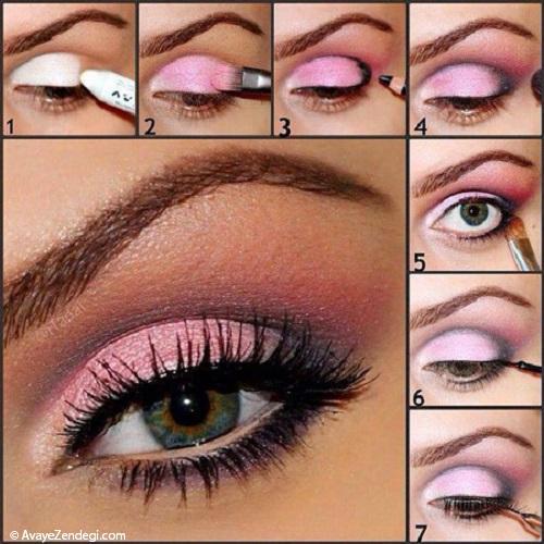 آموزش آرایش چشم با خط چشم پهن نقره ای و مشکی