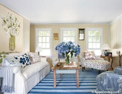 خانه ای شیک و اعیانی با رنگ سفید و آبی