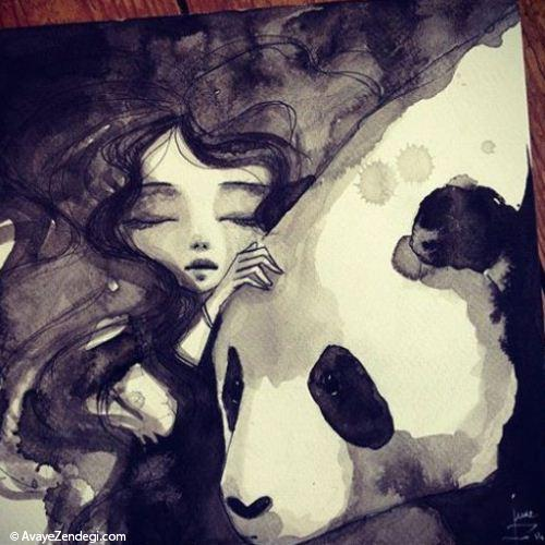 نقاشی جالب از دختری با خرس پاندا