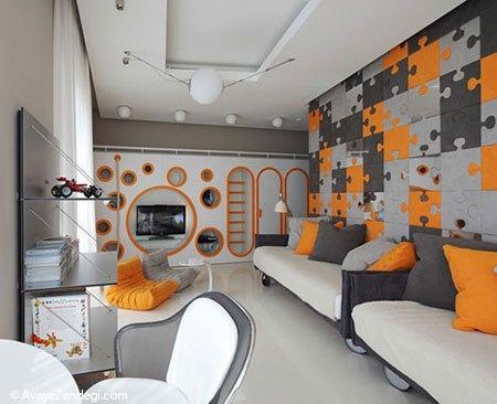 طراحی داخلی اتاق کودک با دیوارهای پازلی